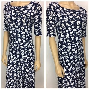 Lands End Blue And White Floral Dress